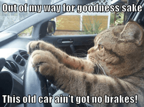Out of my way for goodness sake  This old car ain't got no brakes!