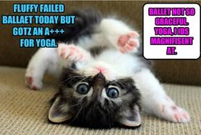 FLUFFY FAILED BALLAET TODAY BUT GOTZ AN A+++FOR YOGA.