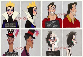 Disney Villain Mugshots Detailing Their Classic Crimes