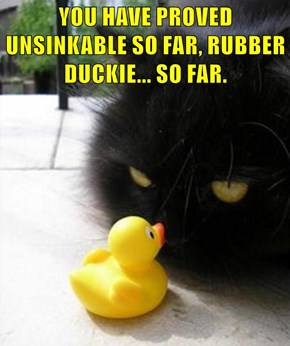 YOU HAVE PROVED UNSINKABLE SO FAR, RUBBER DUCKIE... SO FAR.