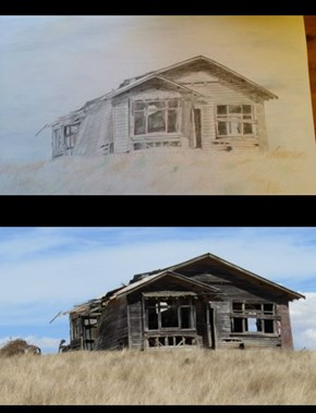 Ramshackle House original photo & pencil drawing