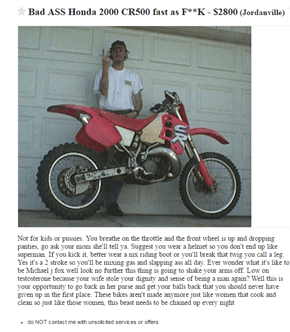 This Motorcycle Sales Pitch Is Very... Descriptive