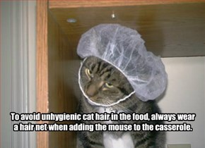 To avoid unhygienic cat hair in the food, always wear a hair net when adding the mouse to the casserole.