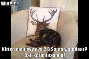 Wut???  Kitteh cant twy owt 2 B Santa waindeer?  Dat 'scriminashun!