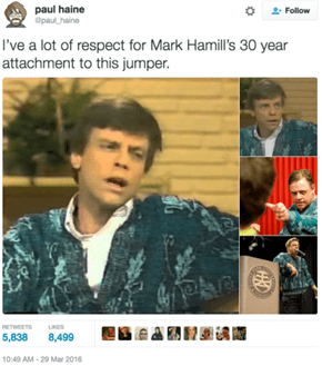Mark Hamill Knows How to Hang on to a Good Sweater