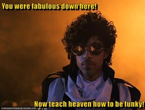 You were fabulous down here!  Now teach heaven how to be funky!