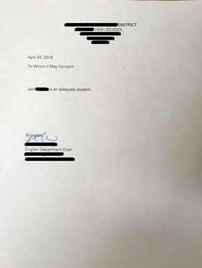 Teacher Pranks Student With a Less Than Adequate Letter of Recommendation