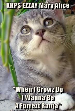 """KKPS EZZAY Mary Alice  """"When I Growz Up                                   I Wanna Be                                       A Forrezt Ranja"""""""