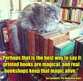 """Perhaps that is the best way to say it: printed books are magical, and real bookshops keep that magic alive."""