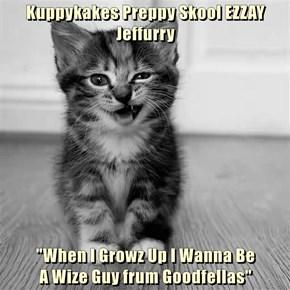 """Kuppykakes Preppy Skool EZZAY Jeffurry  """"When I Growz Up I Wanna Be                                                           A Wize Guy frum Goodfellas"""""""