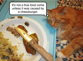 It's not a true food coma unless it was caused by a cheezburger.