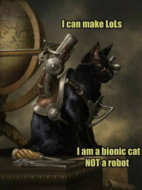 I can make LoLs                    I am a bionic cat               NOT a robot