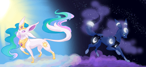 Celespeon and Lunumbreon