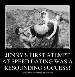 JENNY'S FIRST ATEMPT AT SPEED DATING WAS A RESOUNDING SUCCESS!
