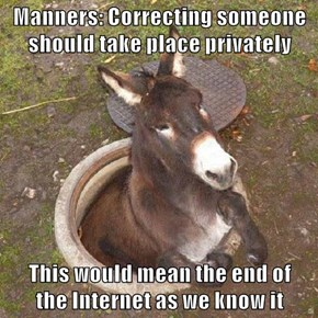 Manners: Correcting someone should take place privately  This would mean the end of                                 the Internet as we know it