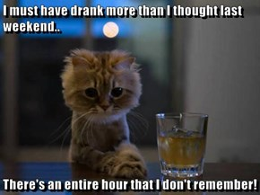 I must have drank more than I thought last weekend..  There's an entire hour that I don't remember!