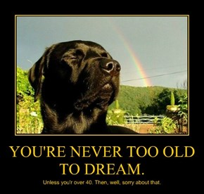 YOU'RE NEVER TOO OLD TO DREAM.