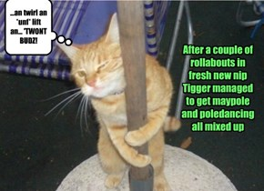 After a couple of rollabouts in fresh new nip Tigger managed to get maypole and poledancing all mixed up