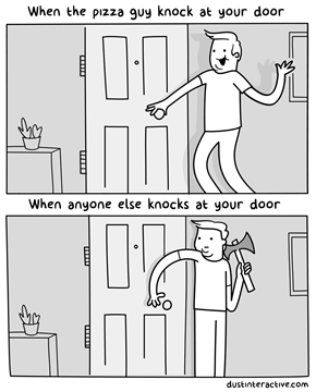 A Rather Accurate Portrayal of How Some of Us Handle the Two Different Kinds of Knocks at Our Doors