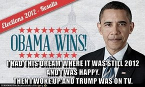 I HAD THIS DREAM WHERE IT WAS STILL 2012 AND I WAS HAPPY.                                                            THEN I WOKE UP AND TRUMP WAS ON TV.