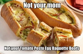 Not your Tomato Pesto Egg Baguette Boats