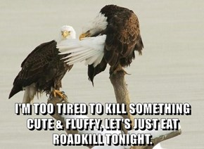 I'M TOO TIRED TO KILL SOMETHING CUTE & FLUFFY, LET'S JUST EAT ROADKILL TONIGHT.