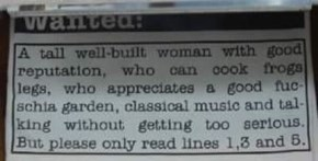 Classic Ad in the Personals Section of the Newspaper