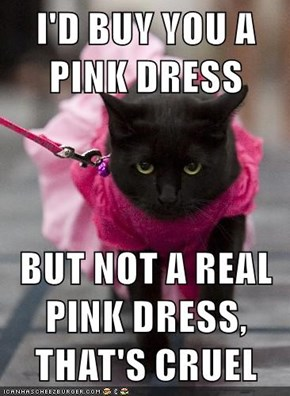 I'D BUY YOU A PINK DRESS  BUT NOT A REAL PINK DRESS, THAT'S CRUEL