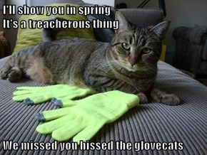 I'll show you in spring                                                        It's a treacherous thing  We missed you hissed the glovecats