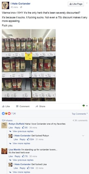 This Facebook Group Is Dedicated to Spreading Coriander Hate
