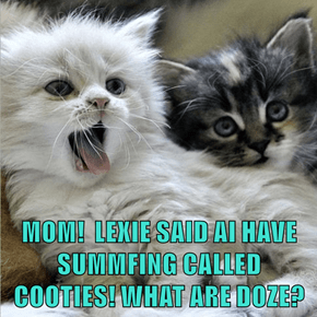 MOM!  LEXIE SAID AI HAVE SUMMFING CALLED COOTIES! WHAT ARE DOZE?