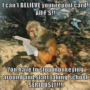 I can't BELIEVE your report card! All F'S!!  You have to stop monkeying around and start taking school SERIOUSLY!!!