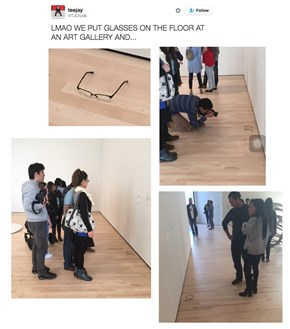 Visitors to an Art Gallery Were Trolled by Strategically Placed Glasses