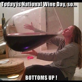Today is National Wine Day, so...  BOTTOMS UP !