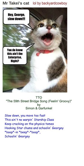"""The Enterprise Bridge Song"" (TTO ""The 59th Street Bridge Song (Feelin' Groovy)"" by Simon & Garfunkel)"