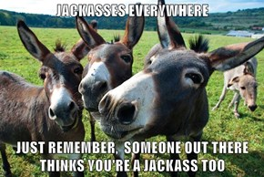 JACKASSES EVERYWHERE  JUST REMEMBER,  SOMEONE OUT THERE THINKS YOU'RE A JACKASS TOO