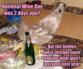 National Wine Day was 2 days ago?