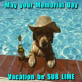 May  your  Memorial  Day   Vacation  be  SUB  LIME