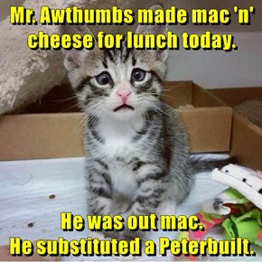 Mr. Awthumbs made mac 'n' cheese for lunch today.  He was out mac.                                  He substituted a Peterbuilt.