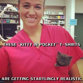 """THESE """"KITTY IN POCKET"""" T-SHIRTS ARE GETTING STARTLINGLY REALISTIC"""