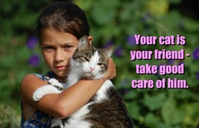 Your cat is your friend - take good care of him.