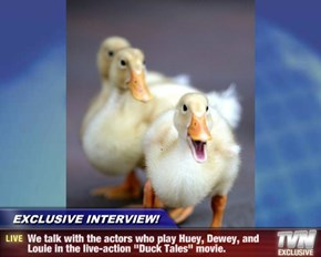 "EXCLUSIVE INTERVIEW! - We talk with the actors who play Huey, Dewey, and Louie in the live-action ""Duck Tales"" movie."