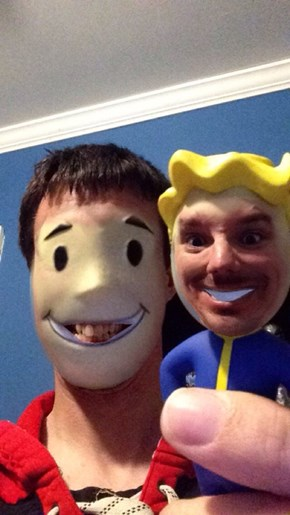 This Guy's Face Swap With Fallout's Vault Boy Bobble Head Is the Stuff of Nightmares