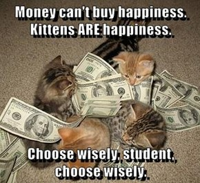 Money can't buy happiness. Kittens ARE happiness.  Choose wisely, student, choose wisely.