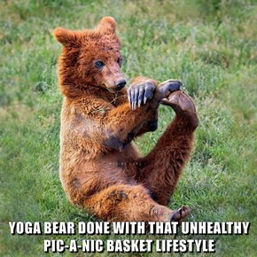 YOGA BEAR DONE WITH THAT UNHEALTHY PIC-A-NIC BASKET LIFESTYLE
