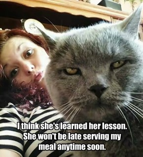 I think she's learned her lesson. She won't be late serving my meal anytime soon.