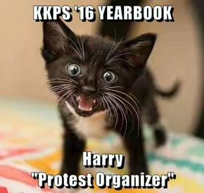 "KKPS '16 YEARBOOK   Harry                                                   ""Protest Organizer"""