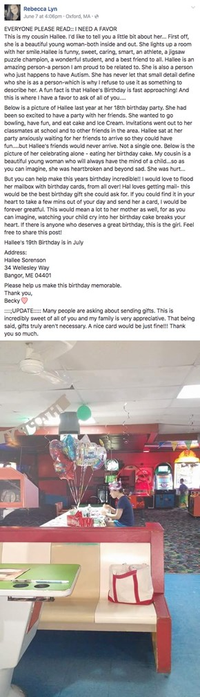 People on the Internet Refuse to Let This Girl Have Another Lonely Birthday