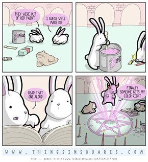 Something Too Funny About Robed Bunnies, Man