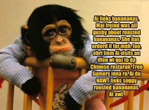 Ai lieks banananas. Mai freind wus all gushy aboot roasted banananas. She has orderd it fer meh, too, ebri tiem Ai visits an iffen wi goz to da Chinese restaran. Tree Sumers inna ro. Ai du NAWT lieks soggy roosted banananas.  At awl.